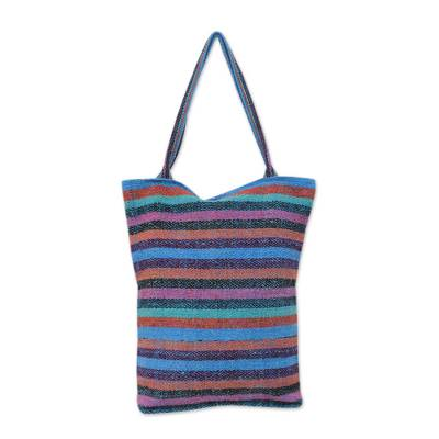 Hand Woven Striped Tote Bag with Three Inner Pockets