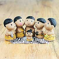 Ceramic nativity scene, 'In the Amazon' (6 pieces) - Christmas Amazonian Nativity Scene Figurines (Set of 6)