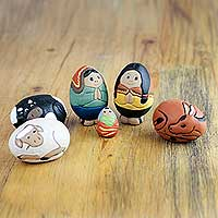 Ceramic nativity scene, 'In the Stable' (6 pieces) - Whimsical Egg-Shape Nativity Scene Figurines (6 Pieces)
