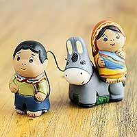 Ceramic figurines, 'Flight to Egypt' (pair) - Handmade Two-Piece Set of Ceramic Mary and Joseph Figurines