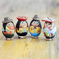 Ceramic figurines, 'Women of the Andes' (set of 4) - Hand Crafted Ceramic Figurines in Peruvian Regional Attire