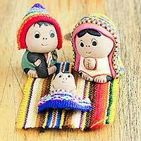 Ceramic nativity scene, 'Andean Holy Family' (set of 3) - 3-Pc Ceramic Nativity Scene with Woven Details from Peru