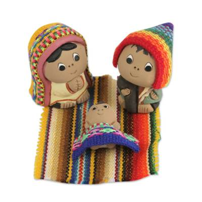 3-Pc Ceramic Nativity Scene with Woven Details from Peru