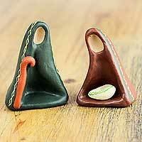 Ceramic nativity scene, 'Holy Birth in Abstraction' (pair) - Abstract Nativity Scene Hand Crafted of Ceramic (Pair)