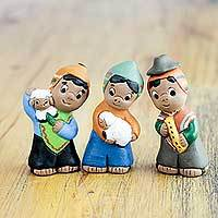 Ceramic figurines 'Andean Shepherds' (set of 3) - Hand Painted Artisan Crafted Ceramic Figurines (Set of 3)
