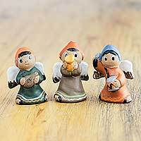 Ceramic figurines, 'Angelic Musicians I' (set of 3) - Musical Andean Angels Set of 3 Ceramic Figurines from Peru