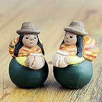 Ceramic figurines, 'Proud Cholitas' (pair) - Traditional Ceramic Figurine Sculptures of Andean Women