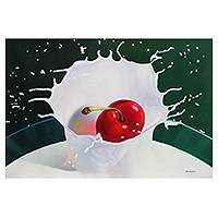 'Splash in Milk' (2014) - Dynamic Hyper Real Cherry Painting in Oil on Canvas