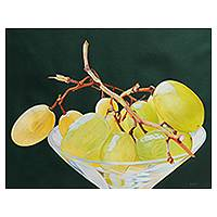 'Approaching the Most Intimate' (2014) - Peruvian Still Life Painting of Grapes in a Martini Glass