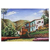 'Balconies' - Oil Painting of Peruvian Houses in the Countryside