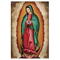 'Our Lady of Guadalupe' - Colorful Peruvian Replica Painting of Our Lady of Guadalupe