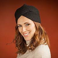 Alpaca blend hat, 'EbonyTurban' - Knitted Alpaca Blend Black Turban Style Hat from Peru