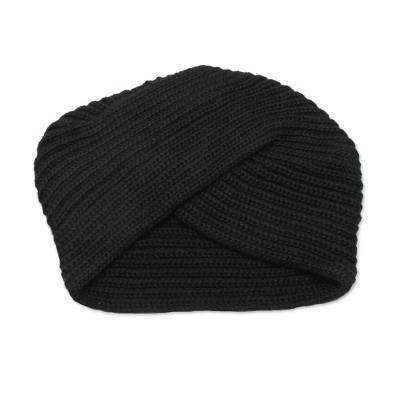 Knitted Alpaca Blend Black Turban Style Hat from Peru