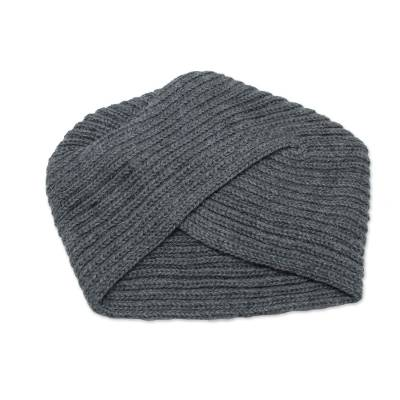 Knitted Grey Alpaca Blend Turban Style Hat from Peru