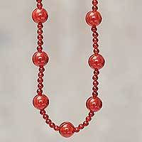Carnelian beaded necklace, 'Andean Fire' - Fire Red Artisan Crafted Carnelian Beaded Necklace from Peru