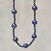 Lapis lazuli beaded necklace, 'Andean Blues' - Peruvian Blue Lapis Lazuli Artisan Crafted Beaded Necklace