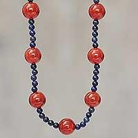 Carnelian and lapis lazuli beaded necklace, 'Fiery Sea'