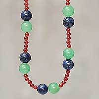 Multi gemstone beaded necklace, 'Be Happy' - Peruvian Hand Crafted Beaded Gemstone Necklace