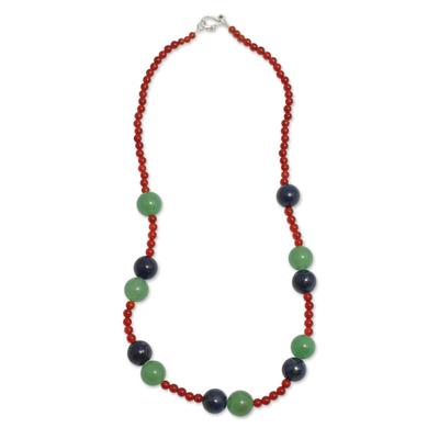 Multi gemstone beaded necklace, 'Be Happy' - Peruvian Hand Crafted Beaded Gemstone Necklace