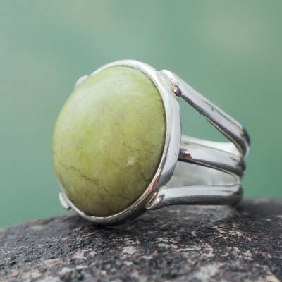 Andean Artisan Crafted Silver and Serpentine Cocktail Ring