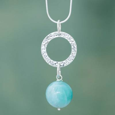 Amazonite pendant necklace, 'Circle of Blue' - Amazonite and Sterling Silver Hand Crafted Necklace