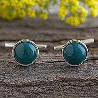 Chrysocolla cufflinks, 'Rainforest' - Chrysocolla and Sterling Silver Fair Trade Cufflinks