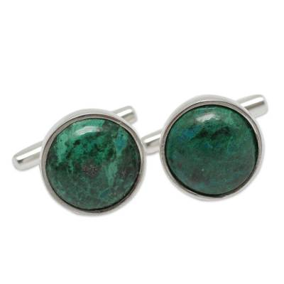 Chrysocolla cufflinks, 'Amazonian Dew' - Chrysocolla and Sterling Silver Fair Trade Cufflinks