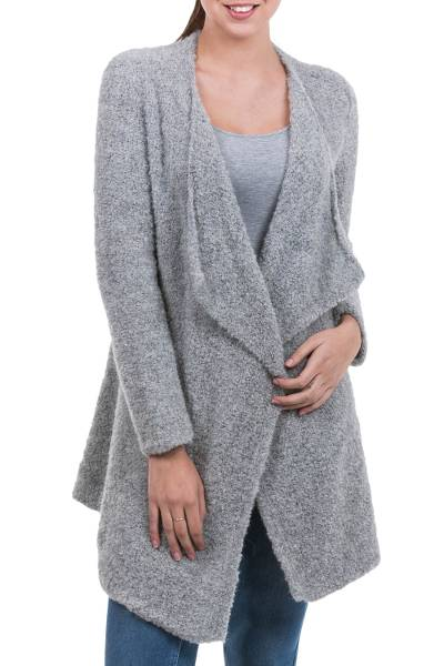 Alpaca cardigan, 'Boucle Mist' - Peru Loose Fit Alpaca Blend Light Grey Boucle Cardigan