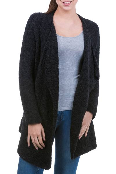 Alpaca cardigan, 'Ebony Boucle' - Alpaca Blend Black Open Front Cardigan from Peru