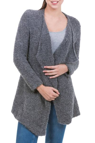 Alpaca cardigan, 'Charcoal Boucle' - Andean Dark Grey Alpaca Blend Open Front Cardigan