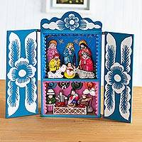 Wood retablo, 'Blue Andean Christmas' - Unique Handmade Andean Nativity Retablo in Blue Painted Wood