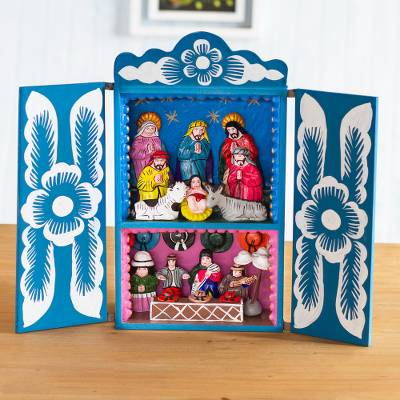 Wood retablo, Blue Andean Christmas