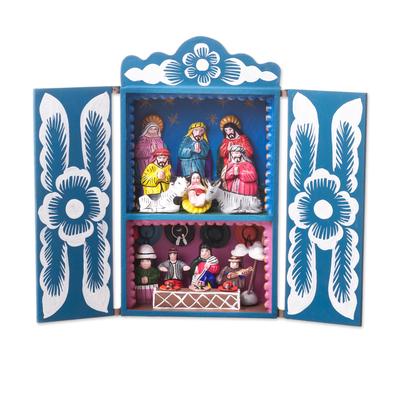 Wood retablo, 'Blue Andean Christmas' - Handcrafted Christian Theme Christmas Retablo Diorama