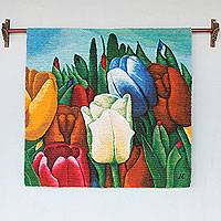 Wool tapestry, 'Andean Tulips' - Colorful Andean Handwoven Wool Tapestry of Tulips