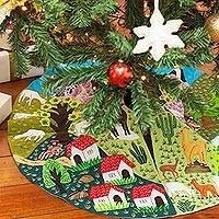 Applique tree skirt, 'Andean Hamlet' - Peruvian Hand Sewn Applique Tree Skirt with Embroidery