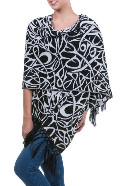 Alpaca blend shawl, 'Andean Art Nouveau' - Black and White Andean Art Nouveau Alpaca Blend Shawl