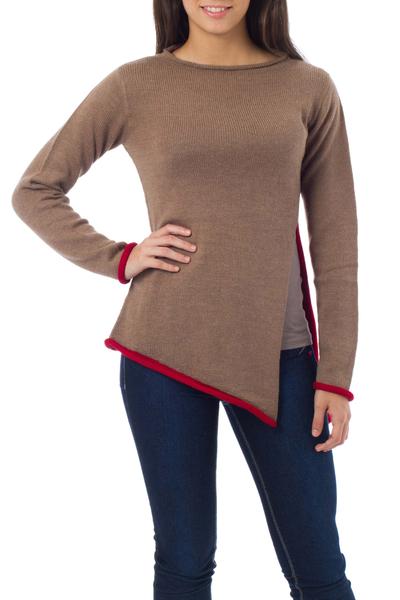 Alpaca blend sweater, 'Scarlet Peek' - Diagonal Hem Brown Alpaca Blend Sweater with Red Trim