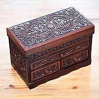 Wood and leather jewelry box, 'Garden Memories'