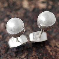 Sterling silver stud earrings, 'Polished Sphere' - Minimalist Silver 950 Stud Earrings from the Andes