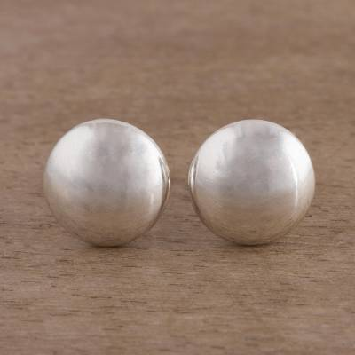 Sterling silver stud earrings, 'Satin Circles' - Brushed Silver Artisan Crafted Stud Earrings from the Andes