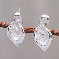 Sterling silver stud earrings, 'Little Lily'