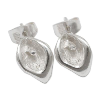 Sterling silver stud earrings, 'Little Lily' - Petite Sterling Silver Handcrafted Flower Stud Earrings