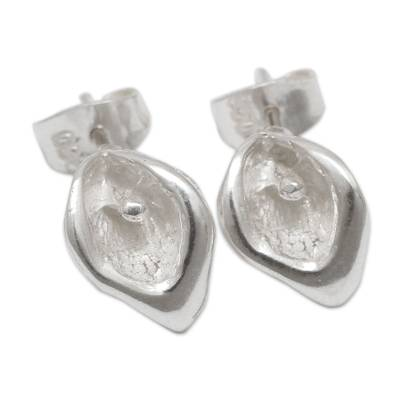 Petite Sterling Silver Handcrafted Flower Stud Earrings