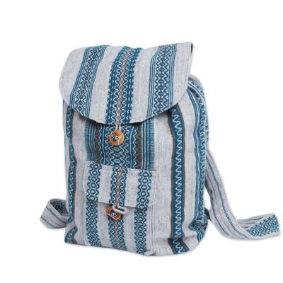 Novica Alpaca blend backpack, Winter Skies