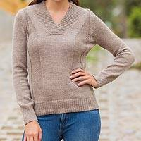 100% alpaca sweater, 'Sand Silhouette' - Light Brown Knitted Alpaca Wool V-Neck Women's Pullover