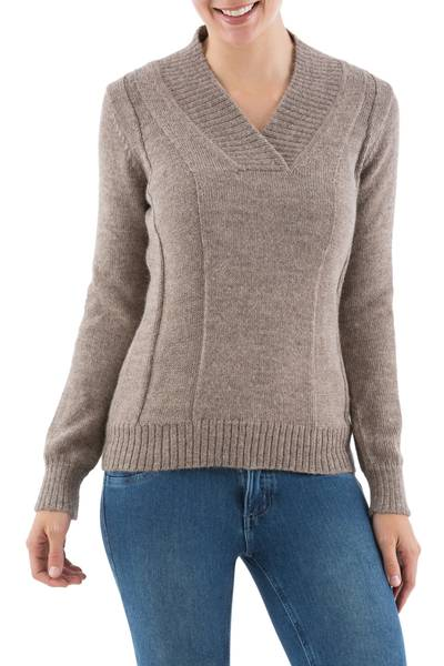 1ba35570a46 Light Brown Knitted Alpaca Wool V-Neck Women's Pullover, 'Sand Silhouette'