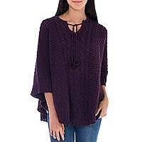 Alpaca blend poncho, 'Purple Harmony' - Women's Purple Wool and Alpaca Cable Knit Poncho
