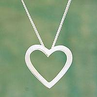 Sterling silver pendant necklace, 'My Sweetheart' - Fair Trade Sterling Silver Heart Necklace from Peru