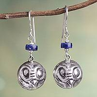 Sodalite dangle earrings, 'Andean Owl' - Handcrafted Sodalite Bird Earrings in Sterling Silver