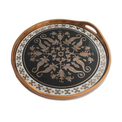 Reverse painted glass tray, 'Black Colonial Medallion' - Andean Black and Gold Reverse Painted Glass Serving Tray